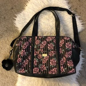 Betsey Johnson pink floral weekender travel bag
